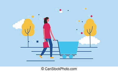 woman with shopping cart commercial ,4k video animation