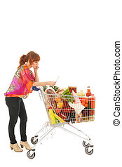 Woman with Shopping cart full dairy grocery reading list