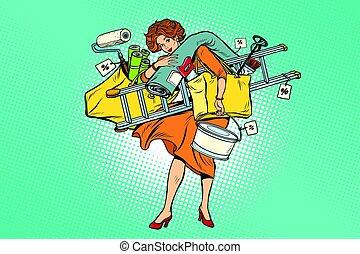 Woman with shopping repair tools. Comic cartoon vintage pop ...