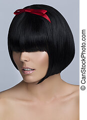 Woman with short bob hairstyle