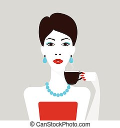 Woman with short haircut and cup of coffee, flat design