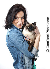 woman with siamese cat