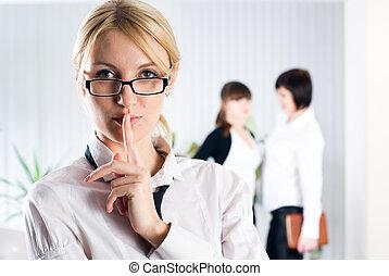 "Woman with sign ""keep silence"""