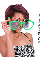 Woman with silly glasses