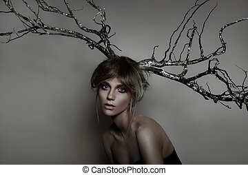 Woman with silver wood