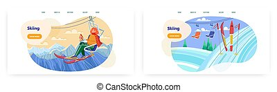 Woman with ski sit on chairlift. Winter holiday on mountain ski resort vector concept illustration. Skiing sport. Snow mountain winter landscape. Web site design template