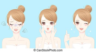 woman with skincare problem - cartoon woman with acne before...