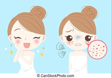 woman with skincare problem - cartoon beauty woman with...
