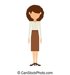 woman with skirt and curly hair vector illustration
