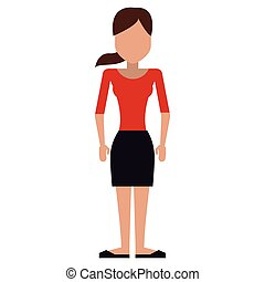 woman with skitrt and top and pony tail - full body avatar ...