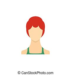 Woman with sleek hair and a bun icon, flat style