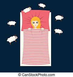 Woman with sleep problems and insomnia symptoms versus good...