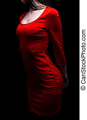 Woman with slim shape in red dress