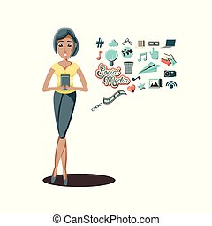 woman with smartphone social media icons