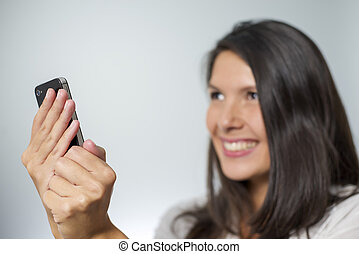 woman with smartphone