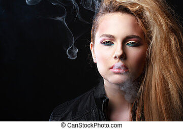 woman with smoke