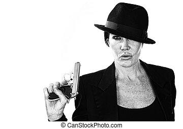 Woman with smoking gun