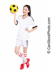 woman with soccer ball