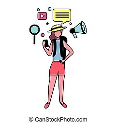 woman with social media icons