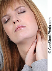 Woman with sore neck