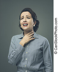 Woman with sore throat - Vintage woman with sore throat...