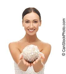 woman with sparkling ball - picture of beautiful woman...