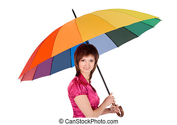 Woman with spectrum umbrella over white