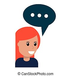 woman with speech bubble cartoon