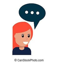 woman with speech bubble cartoon