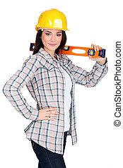 Woman with spirit-level