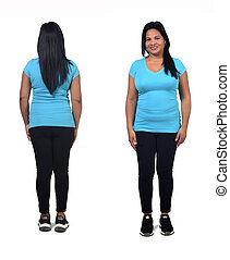 woman with sportswear front and back on white background