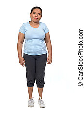 woman with sportswear on white background,