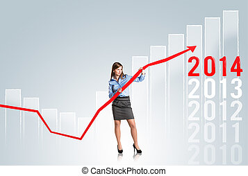 Woman with statistics curve - Business woman is trying to ...