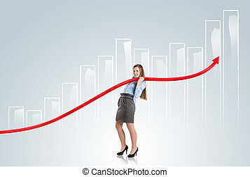 Woman with statistics curve - Business woman is trying to...