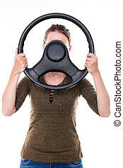 woman with steering wheel - woman with steering whee in...