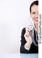 Woman with stethoscope.