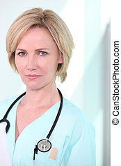 Woman with stethoscope
