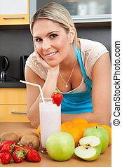 Woman With Strawberry Milkshake - Portrait Of Young Woman...