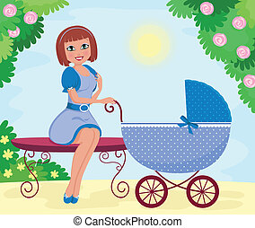 woman with stroller - young woman with a stroller sitting in...