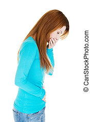Woman with strong pain of stomach and nausea