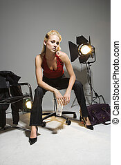 Woman with studio lights.