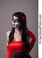 Woman with sugar skull make-up