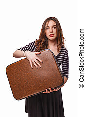 woman with suitcase in hand isolated on white background
