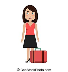 woman with suitcase travel