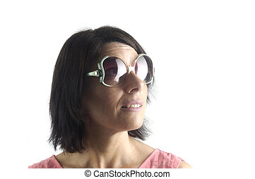 woman with sunglasses on white