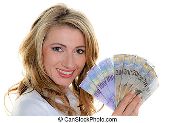 woman with swiss franc banknotes