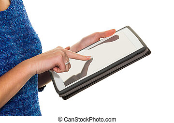 woman with tablet computer - hands of a woman using a tablet...