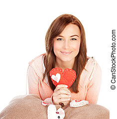 Woman with ted heart toy
