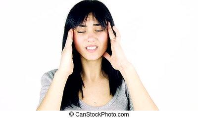 Woman with teeth problem headache