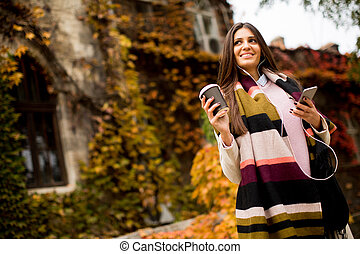 Woman with telephon outdoor